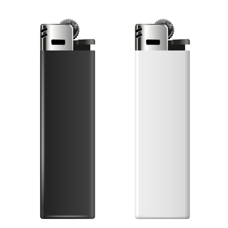 encendedores: Realistic black and white cheap merchandising lighters Vectores