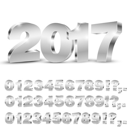 3D vector numbers, three set of different angles, metalic chrome digit and 2017 years title on white background