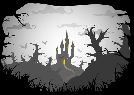 a3: Halloween black and white poster spooky castle horizontal a3, a4 format size. Vector background Illustration