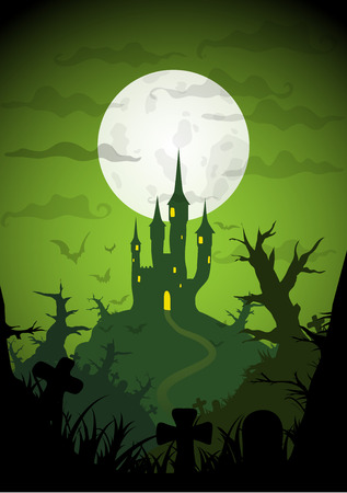 Green Colored Vector Halloween Background with castle on hill with strange forest at night
