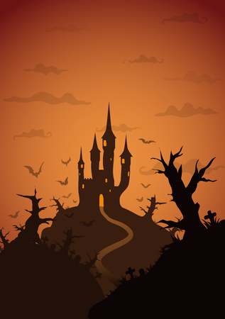 Colored Vector Halloween Background with castle on hill with strange forest at night Illustration