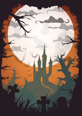 a5: Halloween orange old movie style poster castle at night with full moon vertical a3, a4, a5 format size. Vector background