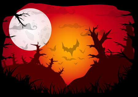 Halloween red colored poster with dead forest on hills at night. Vector background