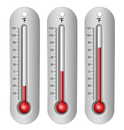 fahrenheit: Thermometers with different levels fahrenheit scale. Vector Illustration Illustration
