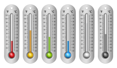 weather gauge: Different Colors Thermometers with Celsius and Fahrenheit Scale. Vector Illustration