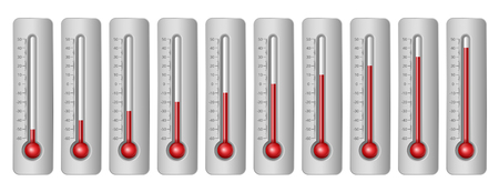 coldness: Thermometers with different levels and celsius scale. Vector Illustration