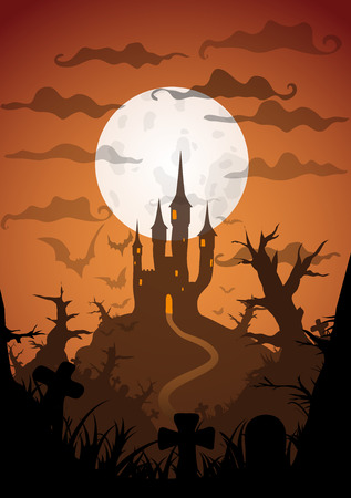 orenge: Halloween orange poster castle at night with full moon vertical a3, a4, a5 format size. Vector background