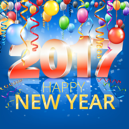 serpentines: New Year 2017 banner or card template with 3D numbers. vector Illustration