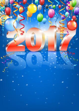 a6: Happy New Year 2017 bright red blue colored vertical A-format greeting card with 3D glossy numbers and balloons. Vector template Illustration