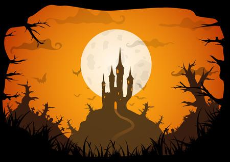 Halloween de color naranja cartel espeluznante castillo con la luna llena, A3 horizontal, tamaño de formato A4. fondo del vector