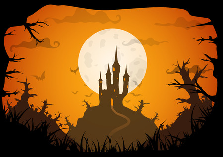 Halloween orange colored poster spooky castle with full moon, horizontal a3, a4 format size. Vector background