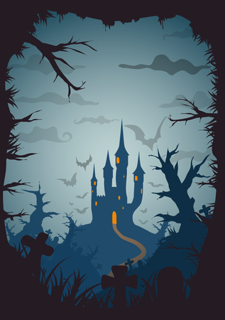 a5: Halloween blue old movie style poster castle at night with full moon vertical a3, a4, a5 format size. Vector background
