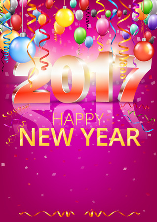 Happy New Year 2017 bright red purple colored vertical A-format greeting card with 3D glossy numbers and balloons. Vector template