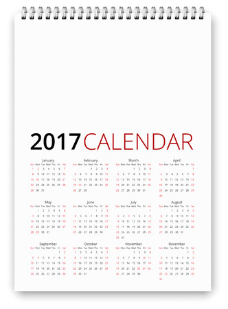 saturday: Simple calendar 2017 template. Week starts from sunday, holiday saturday and sunday and USA federal holidays. Vector realistic spiral notepad notebook Illustration