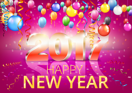 a6: Happy New Year 2017 bright red purple colored greeting card with 3D glossy numbers and balloons. Vector template Illustration