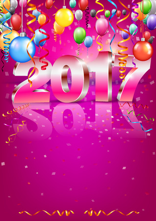 a6: Happy New Year 2017 bright red purple colored vertical A-format greeting card with 3D glossy numbers and balloons. Vector template