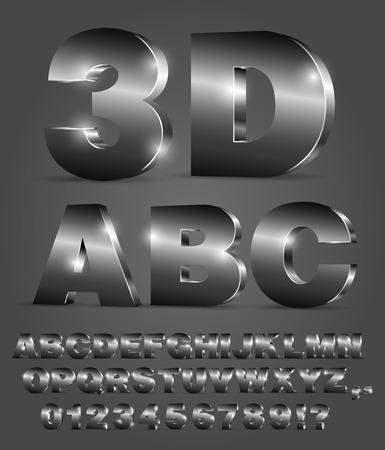 Alfabet 3D wektor czarny czcionki z liter alfabetu i liczb