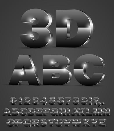letras negras: 3D vector brillante alfabeto de la fuente de metal o de vidrio estilo negro con las letras del alfabeto y números