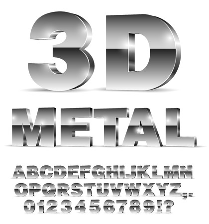 3D isometric alphabet vector black font with alphabet letters and numbers on white background
