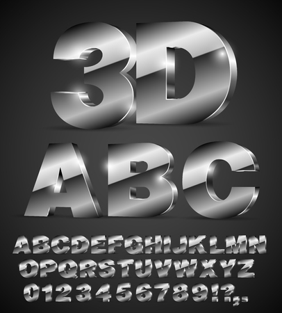 3D isometric alphabet vector black font with alphabet letters and numbers
