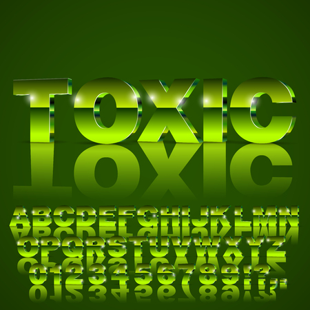 3D isometric alphabet vector toxic green colored font with alphabet letters and numbers Illustration