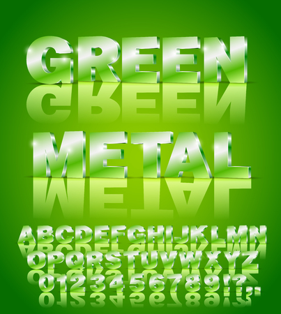3D isometric alphabet vector Green colored font with alphabet letters and numbers