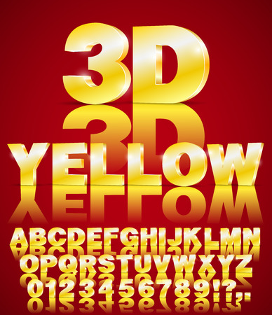 3D isometry alphabet vector Yellow colored font with alphabet letters and numbers