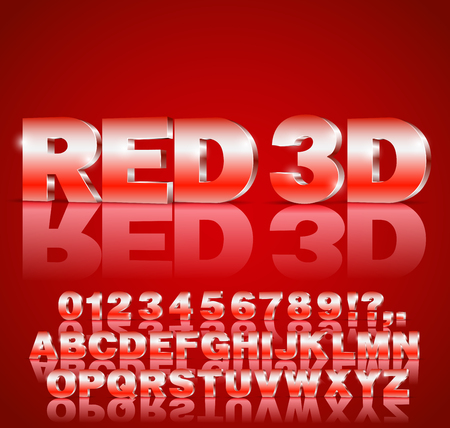 3D alphabet vector Red colored font with alphabet letters and numbers Illustration