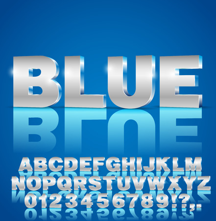 metal letters: Blue metal style 3d isometric vector extruded font set. Letters and numbers