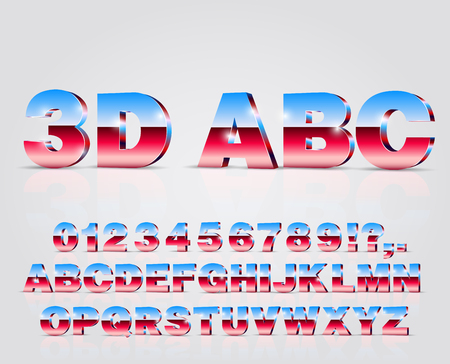 Blue-Red colored 3D isometry alphabet vector black font with alphabet letters and numbers on white background