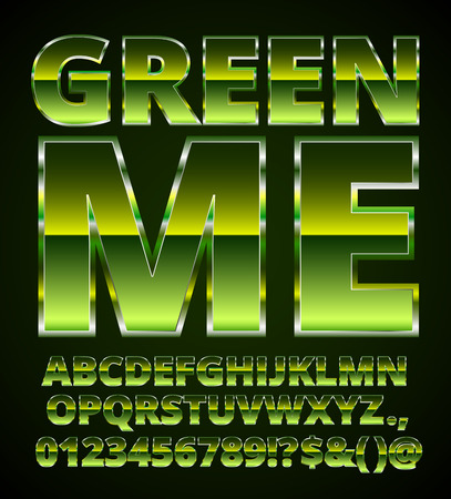 caution chemistry: Green Metal Font, set of vector letters and numbers in green colored chrome style