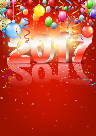 a6: Happy New Year 2017 bright red colored vertical A-format greeting card with 3D glossy numbers and balloons. Vector template
