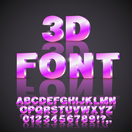 Violet Pink Colored 3D isometry alphabet vector black font with alphabet letters and numbers
