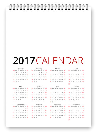 saturday: Simple calendar 2017 template. Week starts from sunday, holiday saturday and sunday. Vector realistic spiral notepad notebook
