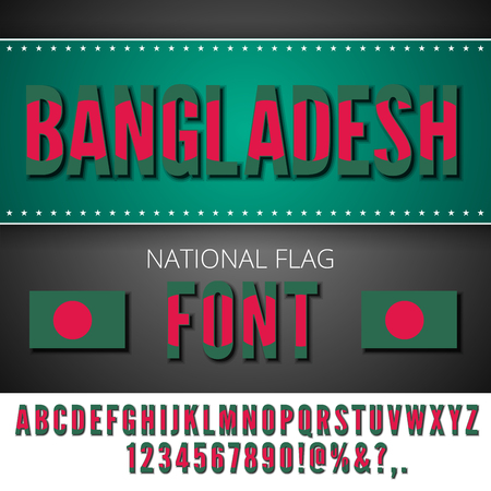 bangladesh: Bangladesh National Flag stylized Font. Alphabet and Numbers in Vector Set Illustration