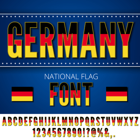 deutsch: Germany National Flag stylized Font. Alphabet and Numbers in Vector Set