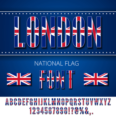 london england: United Kingdom National Flag stylized Font. Alphabet and Numbers in Vector Set