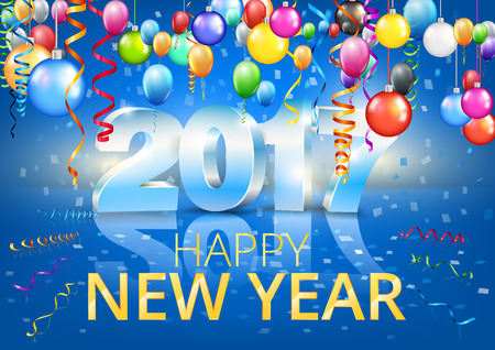 a1: Happy New Year 2017 bright blue colored vertical A-format greeting card with 3D glossy numbers and balloons. Vector template