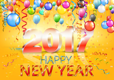yellow: Happy New Year 2017 bright yellow greeting card with 3D glossy numbers and balloons. Vector template
