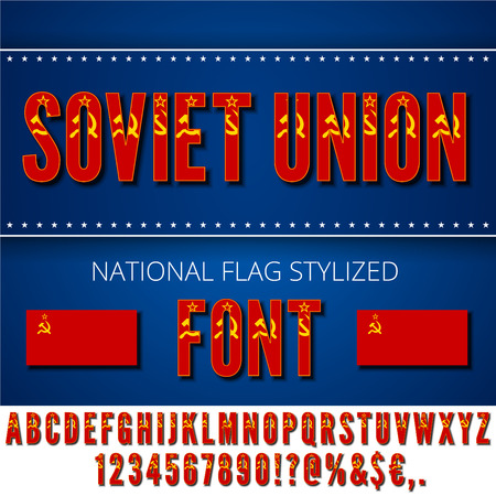 stalin: Soviet Union USSR National flag stylized Font. Alphabet and Numbers in Vector Set