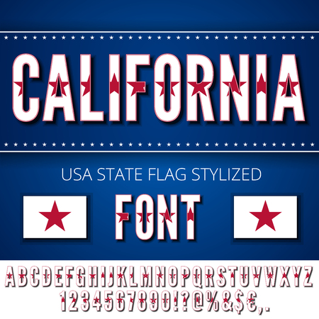 California Lone Star USA state flag font. Alphabet, numbers and symbols stylized by state flag. Vector typeset