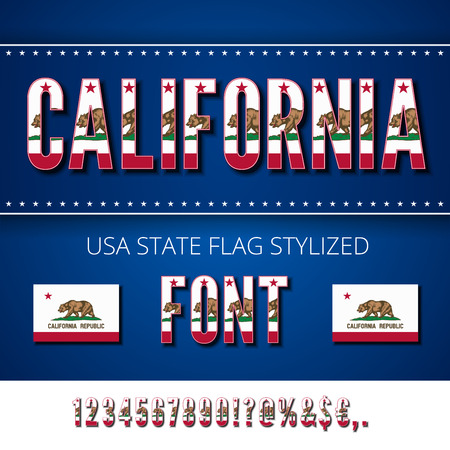 California Lone Star Usa State Flag Font Alphabet Numbers And