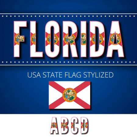 Florida USA state flag font. Alphabet characters stylized by state flag. Vector typeset part 1, letters a-d