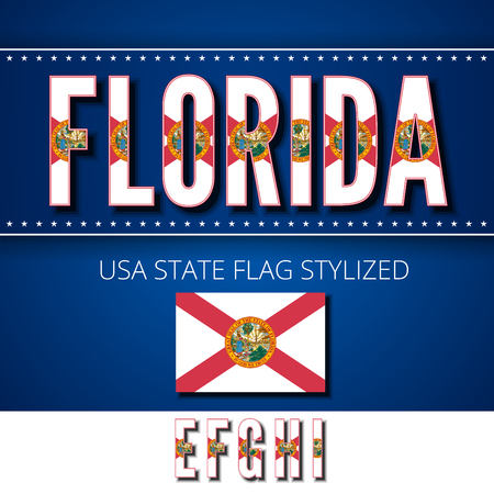 ei: Florida USA state flag font. Alphabet characters stylized by state flag. Vector typeset part 2, letters e-i Illustration