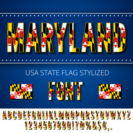 Maryland USA state flag font. Alphabet, numbers and symbols stylised by state flag. Vector typeset