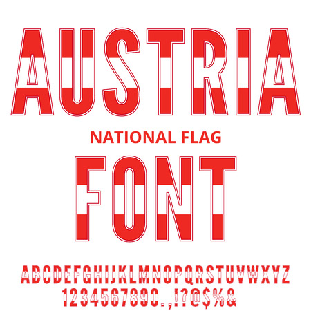austria: Austria National Flag flat stylized Font. Alphabet and Numbers in Vector Set