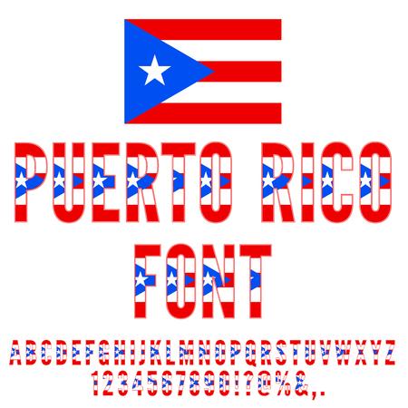 bandera de puerto rico: bandera nacional de Puerto Rico fuente estilizada plana. Alfabeto y números de conjunto de vectores Vectores