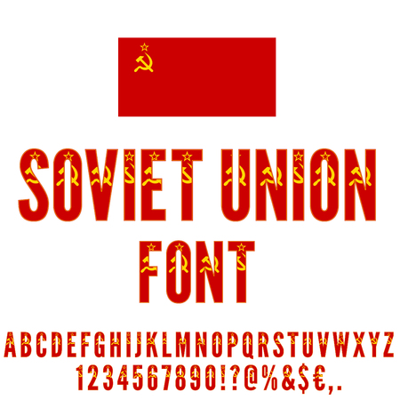 stalin: Soviet Union USSR National flag flat stylized Font. Alphabet and Numbers in Vector Set