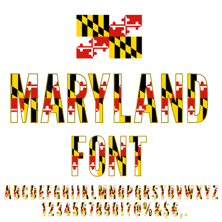 Vlag van Maryland staat lettertype. Alfabet, cijfers en symbolen gestileerd door de vlag van de staat. Vector gezet