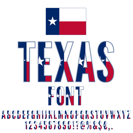 Texas USA state flag font. Alphabet, numbers and symbols stylized by state flag. Vector typeset